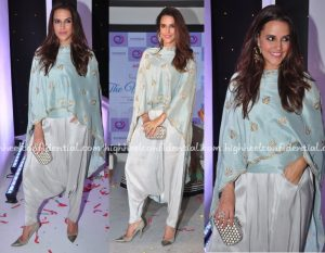 Neha Dupia in Dhoti indo western dresses, bollywood actresses in indo western, actresses in dhoti style outfits, best dressed actress in dhoti indo western dress