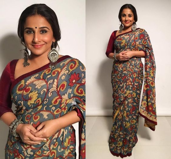 top vidya balan saree looks, top 30 vidya balan sarees, plus size saree inspiration, plus size saree trends from vidya balan