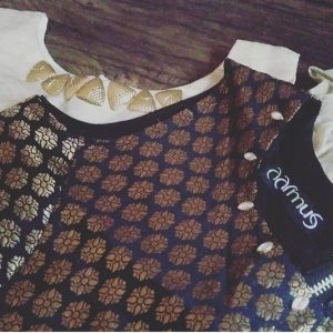 Black Brocade Crop Blouse
