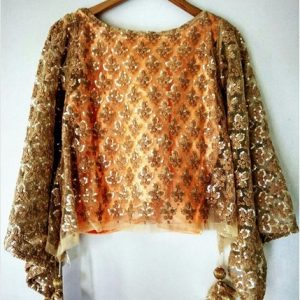 Gold-Peach Net Cape Top Blouse