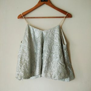 Silver Grey Sequins Aline Top Blouse