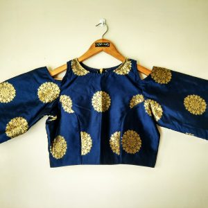 Navy Blue Silk Crop Blouse