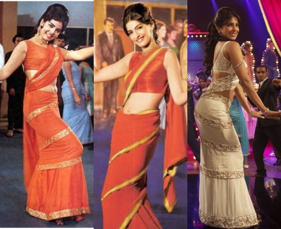 retro saree draping
