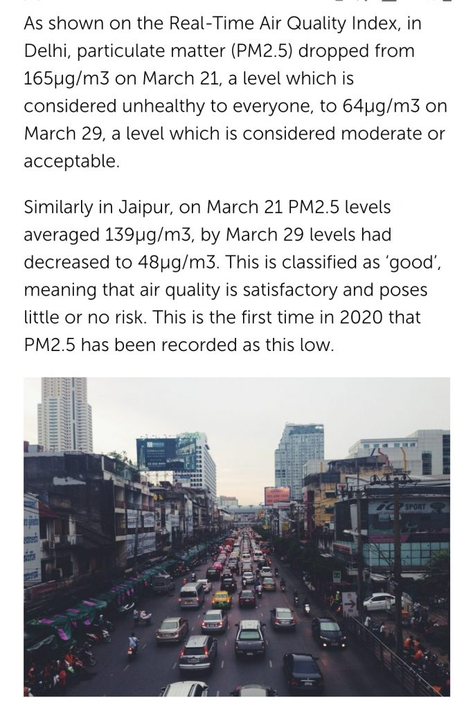 india improves air quality after lcokdown