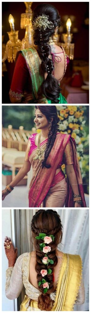 braided hairstyles with saree